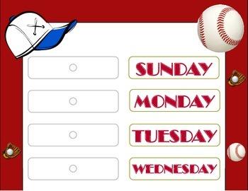 Baseball Theme Weekday Chart! Baseball Days of the Week! B