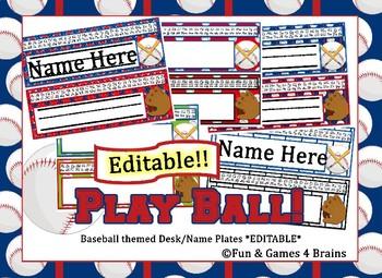 Baseball Themed EDITABLE Desk / Name Plates