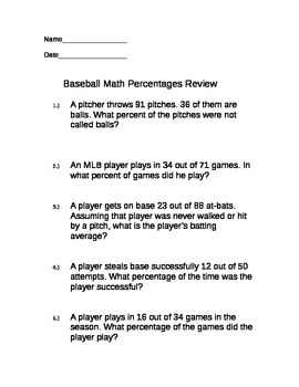 Baseball Themed Percentages Math Review