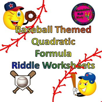Baseball Themed Quadratic Formula Riddle Worksheets