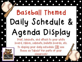 Baseball Themed Schedule Cards Labels & Daily Agenda Remin