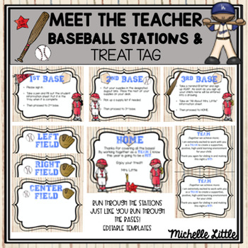 Baseball Themed Teacher Meet & Greet Station Signs