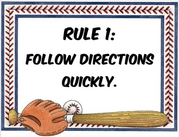 Baseball Themed Whole Brain Teaching Rules
