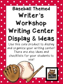 Baseball Themed Writing Workshop and Center Display and Ideas