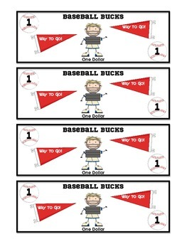 Baseball bucks $1 dollar