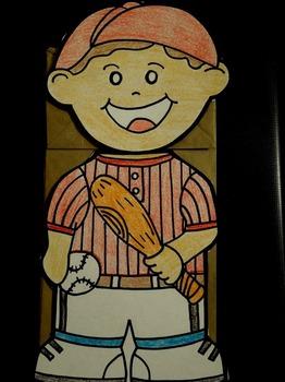 Baseball player paper bag puppet
