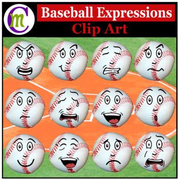 Baseballl Expressions Clipart   Sports Ball Emotions Clip Art