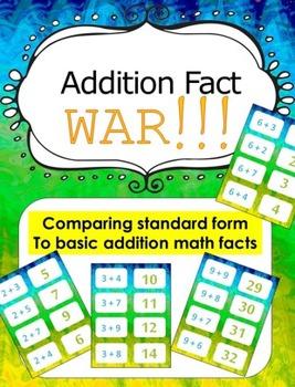Basic Addition Fact Game - Card game of War