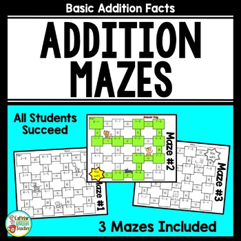 Addition Facts Mazes - No Prep and Every Student Succeeds!