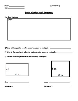 Basic Math Skills - Basic Algebra and Geometry Skills Worksheet