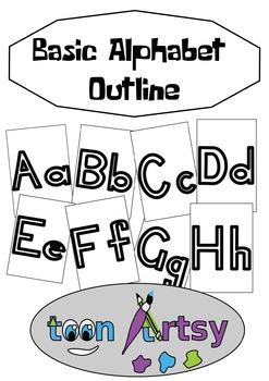 Basic Alphabet Outline in Black and White