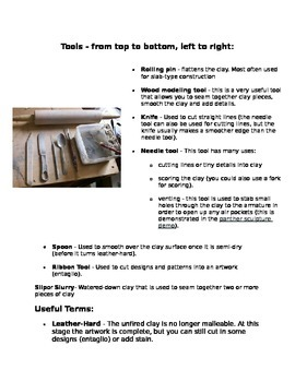 Basic Clay Tools, Terms, and Techniques Handout