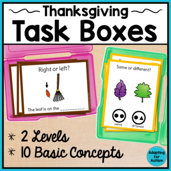 Basic Concepts Task Cards: November (Autism and Special Ed