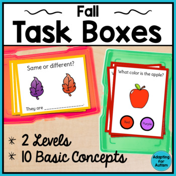 Basic Concepts Task Cards: Apples & Fall (Autism and Speci
