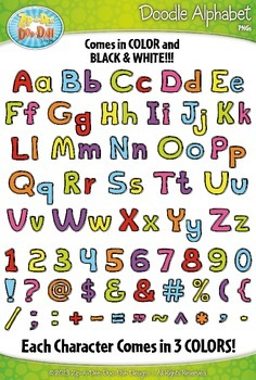 Basic Doodle Alphabet Clip Art Set — Over 335 Fun & Colorf