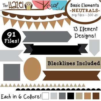 Basic Elements Clip Art Set - Frames, Badges, Banners & Pa