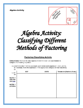 Basic Factoring Classifying Activity