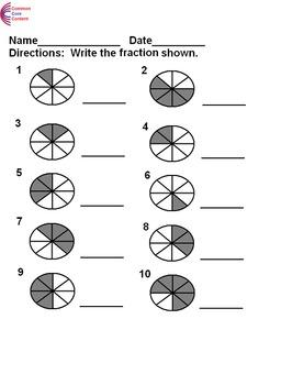 Basic Fractions Worksheets  3.NF.A.1, 4.NF.B.3a, 4.NF.B.3b