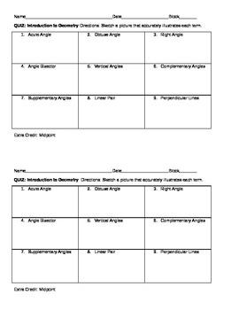 Basic Geometry Vocabulary Quiz
