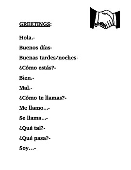 Basic Greetings in Spanish Notes/Handout