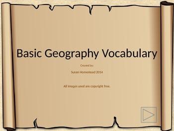 Basic Landform Terms / Vocabulary Powerpoint Presentation