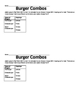 Basic Making Combinations Practice Page