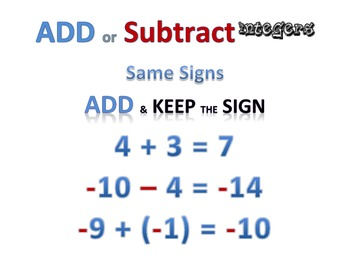 Basic Math Facts - Adding and Subtracting Integers