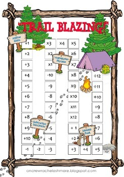 Basic Math Facts Chart with a Camping Theme