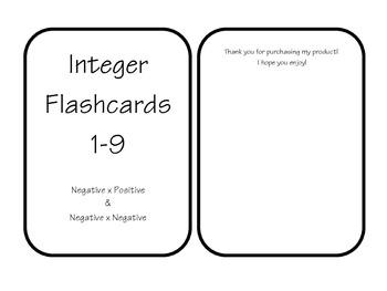 Integer Flashcards - Printable!