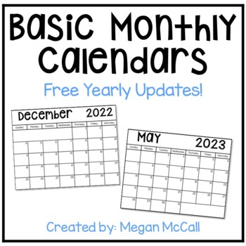 2016-2017 Basic Monthly Calendar with Free Yearly Updates