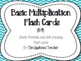 Basic Multiplication Fact Flash Cards (0-9)