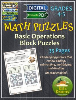 Math Puzzles Basic Operations Set 3:  Block Puzzles