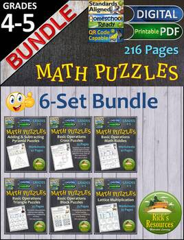 Math Puzzles Bundle for 3rd, 4th, 5th Grade