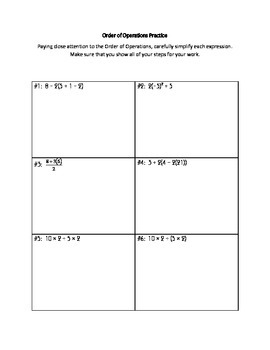 Basic Order of Operations Practice
