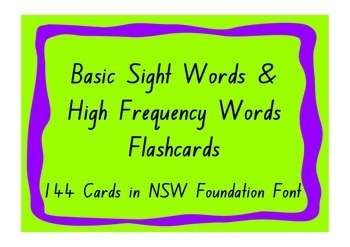 Basic Sight Words and High Frequency Words Flashcards