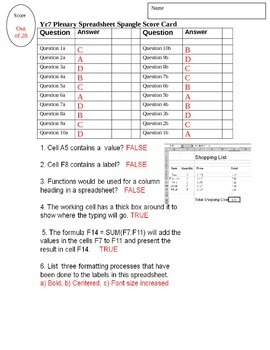 Basic Spreadsheet Quiz Test for Grade 7 Year 7 ICT Answer Key