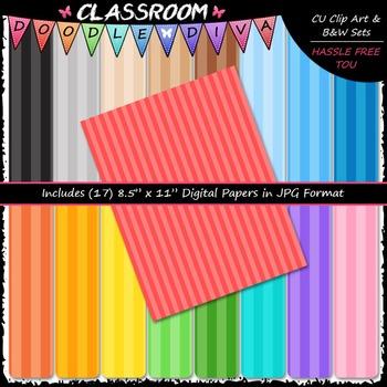 Basic Stripes 1 - 17 CU 8.5x11 Digital Papers