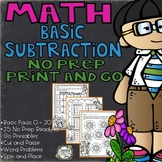 Subtraction Worksheets Basic Facts for Numbers 0 - 20 - 25