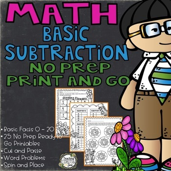 Basic Subtraction Math Printables Numbers 0 - 20 : 25 Diff