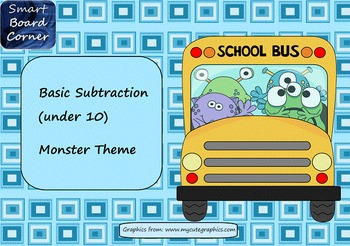 Basic Subtraction SMART Board Lesson Monster Theme