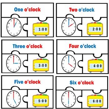 Basic Telling Time Digital Analog Clocks Match To the Hour