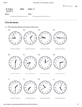 Basic Time Telling Worksheet