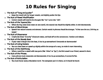 10 Rules for Singing