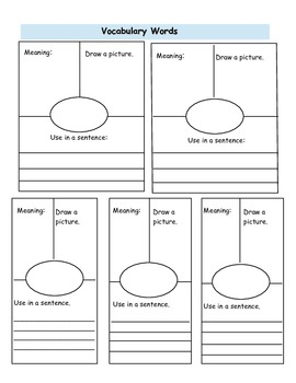 Basic Vocabulary Journal Page Template