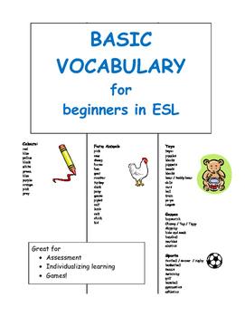 Basic Vocabulary for Beginners in ESL