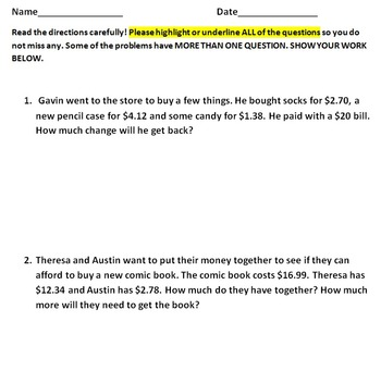 Basic Word Problems on Shopping/Money