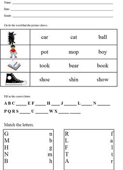 Basic assessment; patterns, rhyme, matching sets, letter r