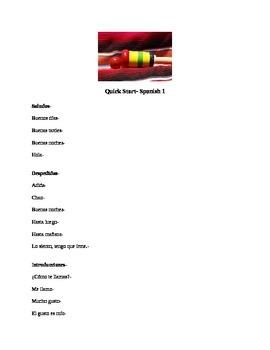 Basic vocabulary for beginning Spanish 1