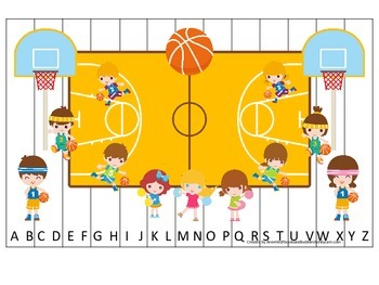 Basketball Boys themed Alphabet Sequence Puzzle preschool