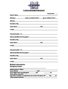 Basketball Player information sheet AAU